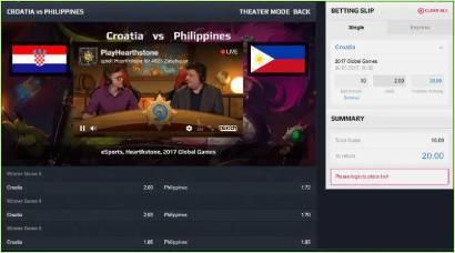 eSports betting odds HearthStone Global Games