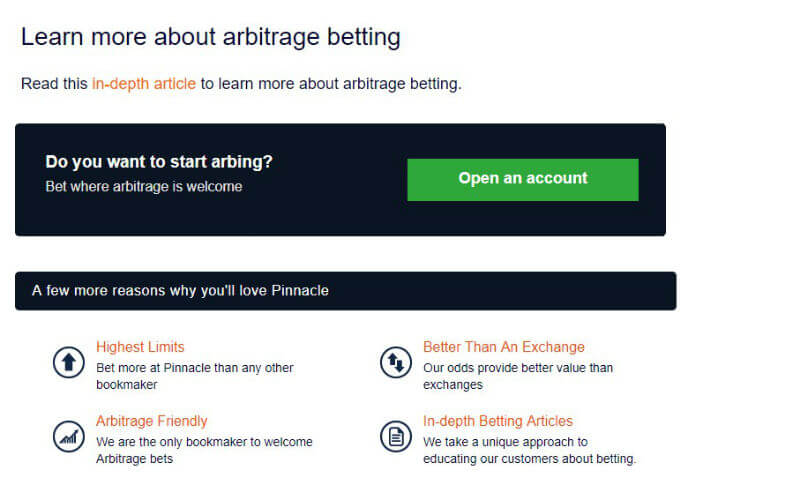 Pinnacle offer an arbitrage betting